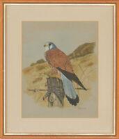 K. Ferrier - 1985 Gouache, Falcon Bird on Tree Trunk