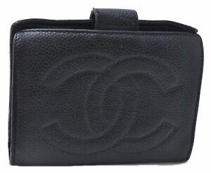 Authentic CHANEL Caviar Skin CC Logo Bifold Wallet Black C4013
