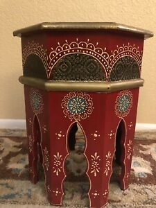 Hand Painted Octagonal Moroccan End Table
