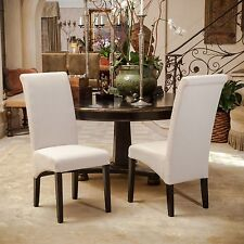 Set of 2 Beige Fabric Tall Rolled Back Parsons Dining Chairs