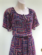 MONSOON Purple,Pink & Aqua Art Print Soft Flowy Dress with Belt sz 8 NWT