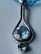 "STERLING SILVER& BLUE TOPAZ TEARDROP DESIGN PENDANTon18""LEATHER THONG £16.95 NWT"