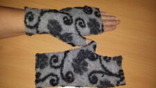 Walk/Wolle-Armstulpen -Pulswärmer mit Daumen schwarz-grau  by Zonel Mode