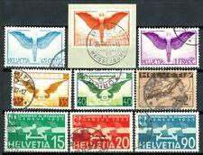 Suisse, timbres Poste Aérienne N° 10 à 18 oblitérés, TB