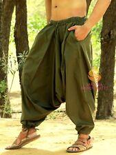 Men Cotton Khaki Harem Yoga Pants Women Harem Trouser Hippie Genie Boho Pants SC