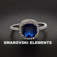 14K White Gold plated Cushion Sep-Lab Created Sapphire Ring w/Swarovski Elements