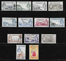 GIBRALTAR SG 145 - 158 GOOD/FINE USED; LESS 149; 1953 PICTORIAL DEFINITIVES.
