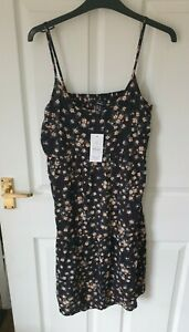 NEW New Look Maternity black floral strappy sun dress size 10