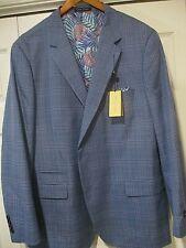 Alan Flusser Blues Plaid Cotton Lightweight Sport Coat Blazer 48R