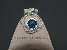 David Yurman Infinity 14mm Hampton Blue Topaz Pendant Necklace 17 in