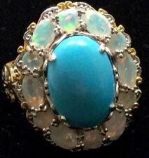 Gems en Vogue 14 x 10mm Blue Crown Turquoise & Ethiopian Opal Halo Ring Sz 8