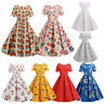 Vintage 50s 60s Retro Style Rockabilly Dot Floral Party Swing Tea Flared Dress