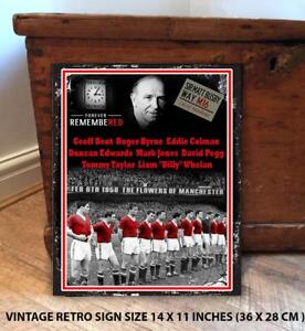 BUSBY BABES MAN UTD MUNICH FANS FOOTBALL Vintage Metal Wall Sign RS598