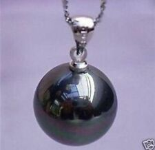 Charming!16mm Black Sea Shell Pearl Pendant Necklace 17''AAA