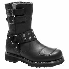 Harley Davidson Marmora Black Womens Leather Biker Mid-Calf Riding Boots