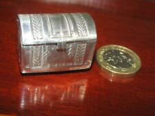 Vintage Silver Dolls House Miniature Domed Chest/Trunk