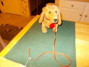 MADE IN US ZONE GERMANY SCHUCO TRIP TRAP DACHSHUND DOG WITH ORIGINAL TAG/LEASH