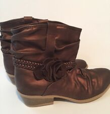 Rampage Ladies Boots Size 5 Ankle  Metallic Brown Color By Girls New Flat heel