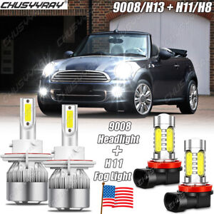 FOR Mini Cooper R56 Clubman R55 6000K LED Headlight High&Low Beam+Fog Bulb Light