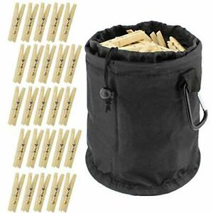 Wooden Clothespins with Bag 50 Pack Set with Clothespin Bag for Clothesline O...