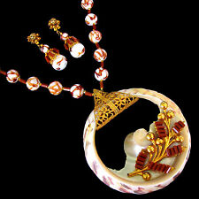 Haskell Copper Fluss & Troca Shell Russian Gold Filigree Necklace & ER Orig Card