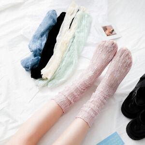 Women Lace Mesh Socks Breathable Transparent Long Socks Summer Stockings