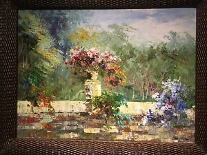 vintage colourful abstract BOUQUET oil on canvas framed