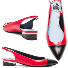 $775  LANVIN Red- Black Pointy Toe Ballerina Flat Ballet Slingback Pump Shoes 38