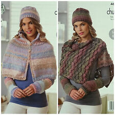 KNITTING PATTERN Ladies Easy Knit Cape Hat Wristwarm Wrap Chunky KingCole 4698