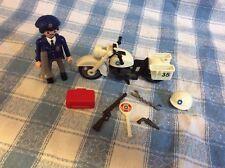 Playmobil Geobra 5891 Police Motorcycle Cop Bike Figure Guns Mix Match Pieces