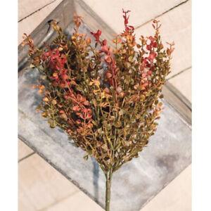 "Red Baby Grass Bush / Branch / Spray 14"" High - Autumn Fall Red Green Gold"