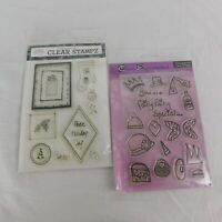 Lot of 2 Photopolymer Clear Stamps Christmas Holiday Stocking Fairy Crown Wings