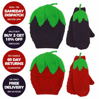 Boys Girls Kids Fruit Hat And Gloves Set Winter Christmas Mittens Ages 3-6