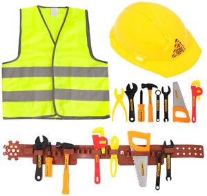 KIDS CHILDRENS BUILDER CONSTRUCTION WORKER FANCY DRESS COSTUME BOYS GIRLS OUTFIT