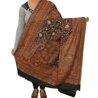 Sanskriti New Indian Scarf Hand Embroidered Kashmiri Polywool Shawl Black Stole