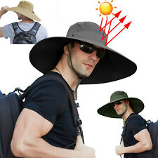 Wide Brim Bucket Hats Sun Protection Cotton Safari Big Boonie Cap Travel Fishing