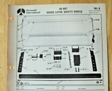 Original Rockwell Wood Lathe Safety Shield 46 807 Illustrated Parts List Wl 5
