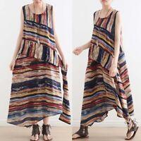 ZANZEA 8-24 Women Sleeveless Long Maxi Sundress Kaftan Full Length Stripe Dress