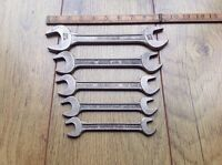 "5 Vintage Gedore No.12 Whitworth Spanners 11/16""W to 1/4""W."