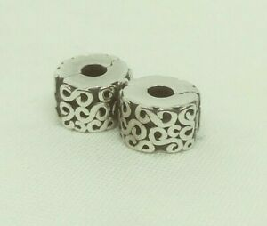 """Lot Set 2 Authentic PANDORA Sterling Silver """"S"""" CLIPS #790338"""