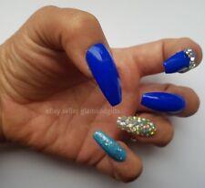 12 Hand Painted False Nails - Royal Blue Diamante 3D Full Cover Gel Nails Tips