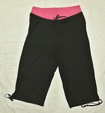 Plus JMS Just My Size French Terry 2 Tone Capri Pants Capris 1X Black/Pink NEW