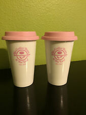 2 The Coffee Bean Glass Tumbler Mug Cup Pink Ribbon Breast Cancer Association