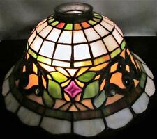"STUNNING Tiffany Style Jeweled Stained Glass Table Lamp Shade 9 3/4"" W, 4 5/8"" H"