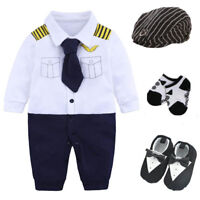 Newborn baby boy party birthday gift bodysuit+hat+socks+shoes costume pilot