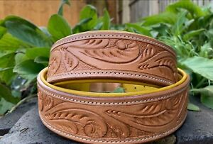 Luxury Leather Dog Collar Hand Carved Vegetable Tan Leather