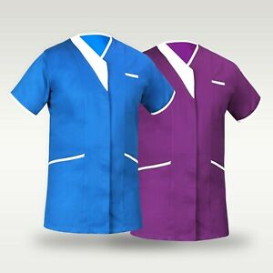 PIPING Medical Vest Tunic Scrub Uniform Nurse PIPING V-NECK Hospital Scrubs Vest