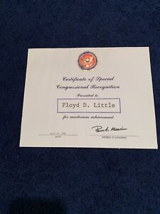 PERSONALLY OWNED FLOYD LITTLE CONGRESSIONAL RECOGNITION AWARD 1988 Broncos!