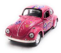 VW Käfer Beetle Hardtop Modellauto Auto Peace Pink Maßstab 1:34 (lizensiert)