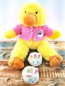 Pawsenclaws & Co Yellow Duck with Pink Bunny Sweater & Bunny Slippers Vintage LG